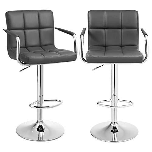 SONGMICS Barhocker 2er Set, höhenverstellbare Barstühle, Barstuhl mit PU-Bezug, 360° Drehstuhl, Küchenstühle mit Armlehnen, Rückenlehne und Fußstütze, verchromter Stahl, dunkelgrau, LJB93GYZ