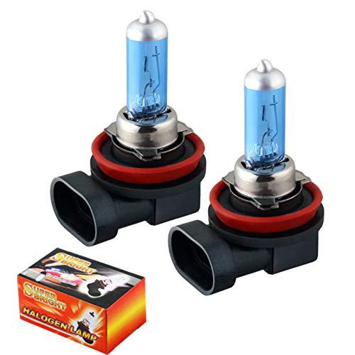 N-B 2 Piezas H8 100W 12V lámparas antiniebla Blancas ultrabrillantes Bombillas halógenas de Alta penetración para Todos los Faros Delanteros de Coche con máxima Visibilidad