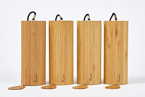 Koshi Klangspiel 4er Set, Windspiel, Yoga, Entspannung, Oberton, Gartendeko, Baby, Senioren, Wellness, Klangtherapie, Bambus