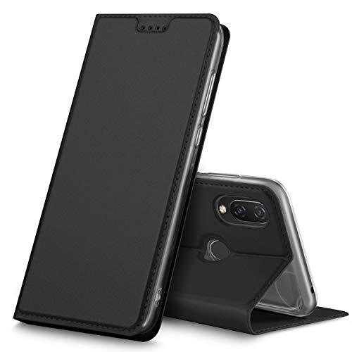 GeeMai Huawei P Smart+ Hülle, Huawei P Smart+ Leder Hülle Flip Case Tasche Cover Hüllen mit Magnetverschluss [Standfunktion] Schutzhülle Handyhülle für Huawei P Smart+ Smartphone, Schwarz