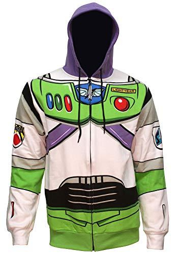 Disney Pixar Toy Story Men's Je suis Buzz Lightyear Adultes Costume Hoodie à Fermeture éclair (SM)
