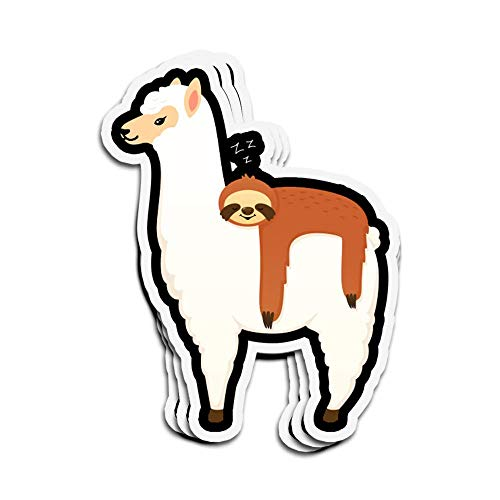 DKISEE 3 PCs Stickers Lazy Sloth Hitching Ride On Alpaca Alpaca Die-Cut Wall Decals for Laptop Window 4 inches