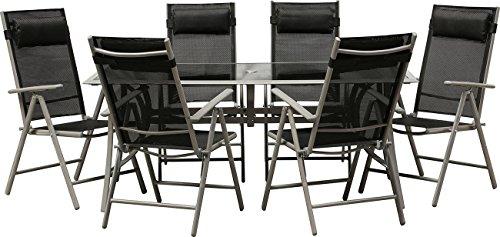 IB-Style® - Top Gartenmöbel Jamaica Gartengarnitur Alu/Textilen | 6 Kombinationen in 2 Abmessungen wählbar | Gartentisch schwarzglas | Sitzgruppe - 13-Teilig Tisch 150 x 90 cm Schwarzglas