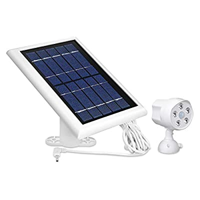 Outdoor Motion Battery Spotlight and Solar Panel Compatible with Ring Spotlight Cam Battery - Perfect Bundle for Total Home Security (White)