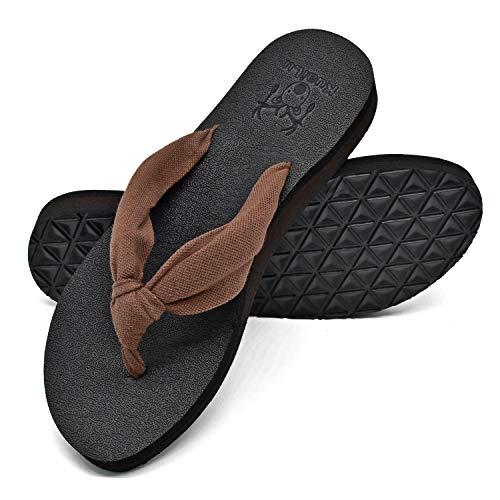 KuaiLu Tongs Femme été Tissu Thong Mousse de Yoga Plates Coussined Sandales Plage et Piscine Chaussures,Marron,38 EU