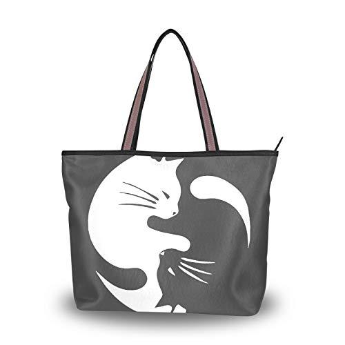 Purse Shopping Tote Bag for Women Girls Ladies Student Yin Yang Gossip Cat Cute Handbags Light Weight Strap Shoulder Bags