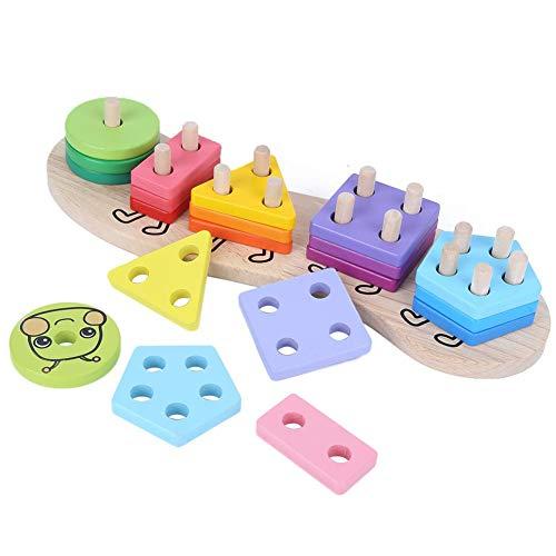 Juguetes de rompecabezas para niños, juguetes educativos duraderos de madera para niños, juguetes de rompecabezas de madera coloridos con forma geométrica, para niños, niños(Caterpillar)