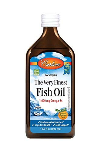 Carlson - The Very Finest Fish Oil, 1600 mg Omega-3s, Liquid Fish Oil Supplement, Norwegian Fish Oil, Wild-Caught, Sustainably Sourced Fish Oil Liquid, Orange, 16.9 Fl Oz