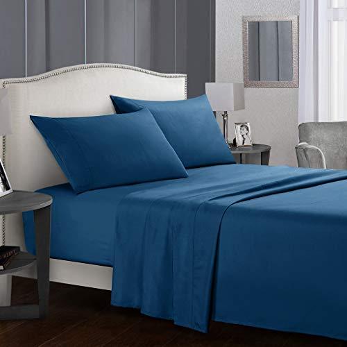 Ropa De Cama Kit De Ropa De Cama De 4 Piezas - Fácil De Cuidar De Tela De Microfibra Suave Extraíble - Ropa De Cama Plana con 2 Fundas De Almohada Completo Azul