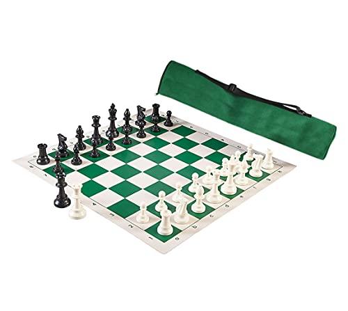 Juego de ajedrez 3 en 1 – Tabla grande de ajedrez enrollable de 20 pulgadas, piezas clásicas de ajedrez Staunton, bolsa de ajedrez estilo arquero (2 reinas extra incluidas)