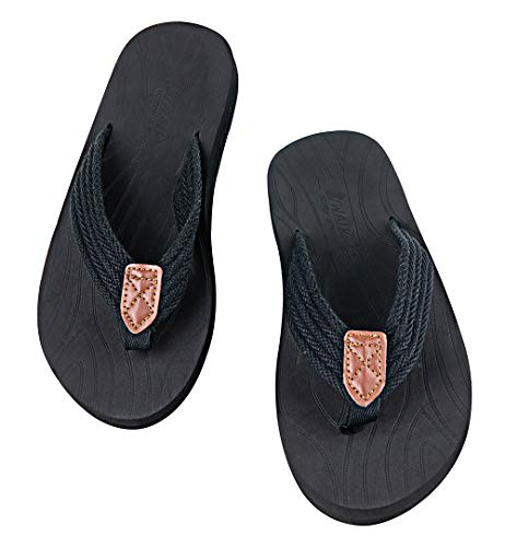 VWALK Men's Sandal Flip Flop with Orthotic Arch Support for Flat Feet Plantar Fasciitis