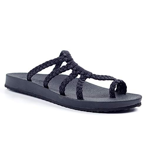 Plaka Relief Flip Flops for Women with Arch Support | Comfy Sandals for Women | Perfect for The Beach, Long Walks or Poolside | Reduces Heel & Back Pain | Black | Size 8