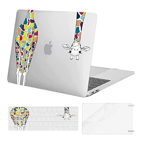 MOSISO Case Compatibile con MacBook PRO 13 Pollici 2020-2016 A2338 M1 A2289 A2251 A2159 A1989 A1706 A1708, Custodia Rigida in Plastica con Giraffa&Tastiera Cover Skin&Proteggi Schermo, Trasparente