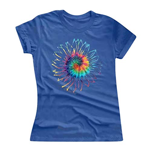 Cute Graphic Tee Shirts for Women Casual Summer Tie-dye Sunflower Print O-Neck Short Sleeves T-Shirt Blouse Tops, S-5XL Blue
