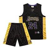 ZKKZ Conjunto de Uniforme de Baloncesto, Commemorative Lakers # 24 Kobe, el Uniforme de Entrenamiento para Hombres se Puede Lavar repetidamente, Tejido de Secado rápido, Suave y cómodo-Black-M