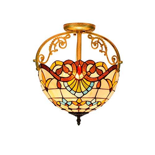 HOUTIAXDYT Luces de Techo de Estilo Tiffany 12 Pulgadas, Vidrio Barroco Lámpara Colgante de Techo de Techo Semi de Monte, para Dormitorio, Pasillo, baño, Sala de Estar, sin Bombilla