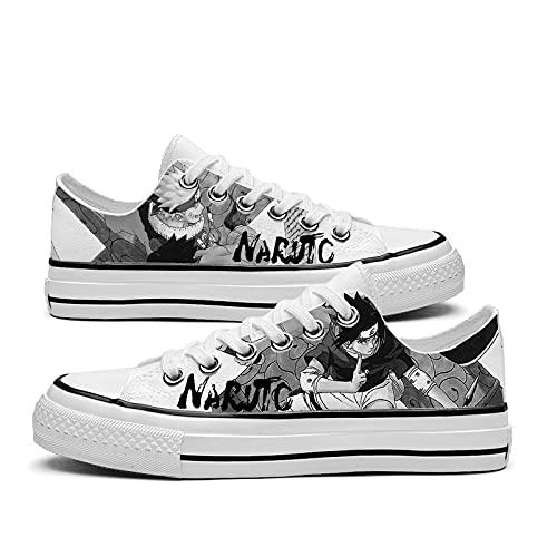 JPTYJ Naruto Uchiha Sasuke Zapatos de Lona Unisex Zapatillas Altas Zapatos con Cordones de Anime A-35