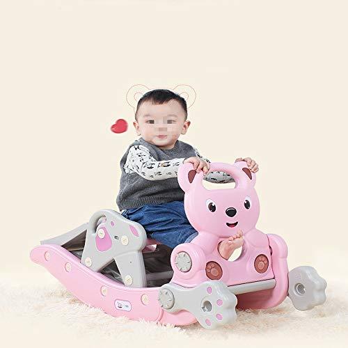 Tyueliang-Home Jouet éducatif Bébé Rocking Horse Rocking Horse Diapo Combinaison Enfants Cheval à Bascule 2-in-1 bébé Ans Cadeau Jouet Enfant en Bas âge (Color : Pink, Size : 104cmX36cmX56cm)