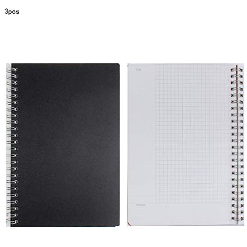 Office Notebook Simple Small Fresh College Students with Notepad Retro Leather Rollover Grid Check Grid Blank Inner Page Notepad Hammock (Style : A5 Black face Cornell-3)