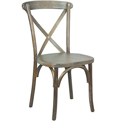 Flash Furniture Wood Cross Back Chairs, 2 Pack, Medium White Grain