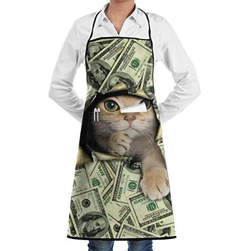 Pag Crane Langlebige wasserfeste Polyester-Küchenschürze mit geräumiger Tasche - Süße Katze mit amerikanischem Dollarzeichen für Backsalon, Küchenmaschine waschbar