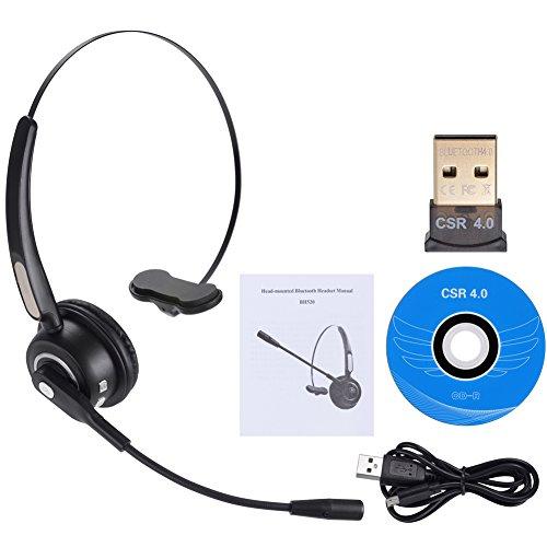 PChero Bluetooth Headset, Bluetooth 4.0 Treiber Overhead USB aufladbares drahtloses Telefon-Kopfhörer mit Mic Freisprecheinrichtung Noise Cancellation 12 Stunden Gesprächszeit für PC, Calling Center