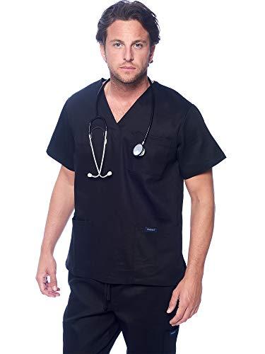 Dagacci Medical Uniform Unisex V-Neck Utility Cotton Scrub Set, Black, M