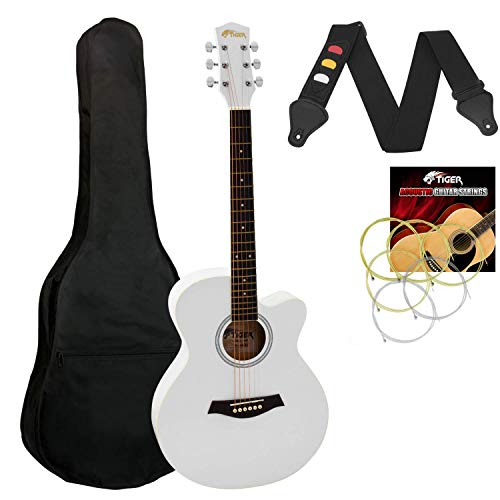 Tiger Small Body Acoustic Guitar for Beginners Guitar - White