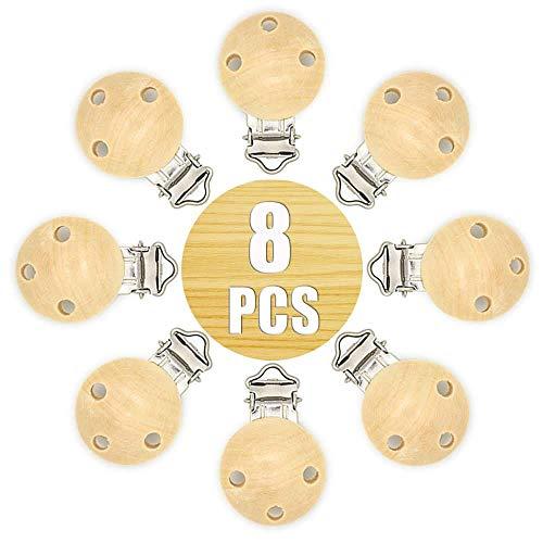 RUBY - 8 pinces à linge en bois pour tétines, pinces à sucette avec trous anti-étouffement clips de tétine attachés aux vêtements