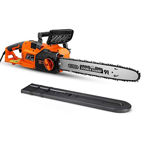 TACKLIFE 2400W Electric Chainsaw, 45 CM OREGON Chain Saw, Self-lubrication Handheld Pruning Saw,...