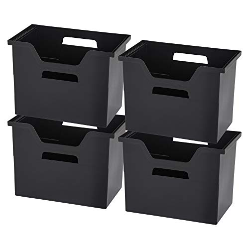 IRIS USA, Inc. OTFB-L Desktop File Box, Large, Black, 4 Pack