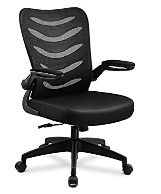 ComHoma Office Chair Mesh Ergonomic Mid-Back Lumbar Support Computer Swivel Desk Chairs with Flip-Up Armrests & Wheels for Conference Home Office, Gray,