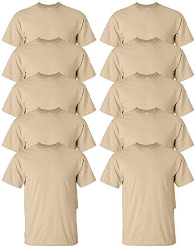 Gildan mens Ultra Cotton 6 oz. T-Shirt(G200)-TAN-M-10PK