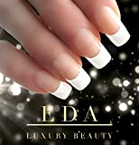 EDA LUXURY BEAUTY NUDE PINK WHITE FRENCH GLAMOROUS DESIGN Full Cover Press On Gel Glitter Artificial Nail Tips Shiny Acrylic False Nails Extra Long Ballerina Coffin Square Super Fashion Fake Nails