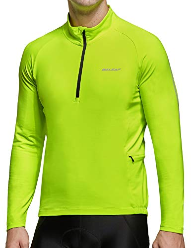 BALEAF Men's Thermal Fleece Winter Bike Jersey Windproof Cycling Long Sleeve Bicycle Running Jacket Pockets Fluorescent Yellow M