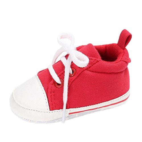 Auxma Babyschuhe Kleinkind-Segeltuch-Turnschuhe Baby-Jungen-Mädchen Prewalker-Schuhe Anti-Beleg-weiche Sohle Netter Trainer Für 3-18 Monate (12cm/6-12 M, Rot)