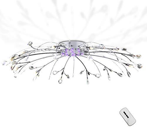 XXL Farbwechsel Led Deckenlampe 90cm Deckenlleuchte mit Fernbedienung Kristall Leuchte Lüster Kronleuchter 12xG4 Fassung inkl. Led Leuchtmittel