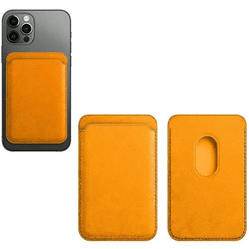 Jinwe Porte cartes Cuir, Adapté pour Iphone 12 Mini/Pro/Max, avec Aimant Mag-Safe Et Conception RFID (Yellow)