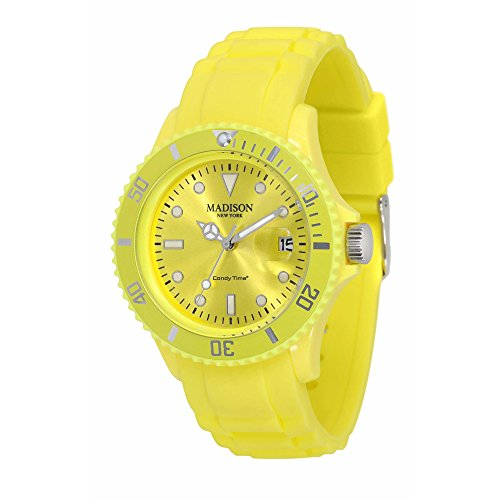 Pastell Gelbe Madison New York Candy Time Unisex Armbanduhr