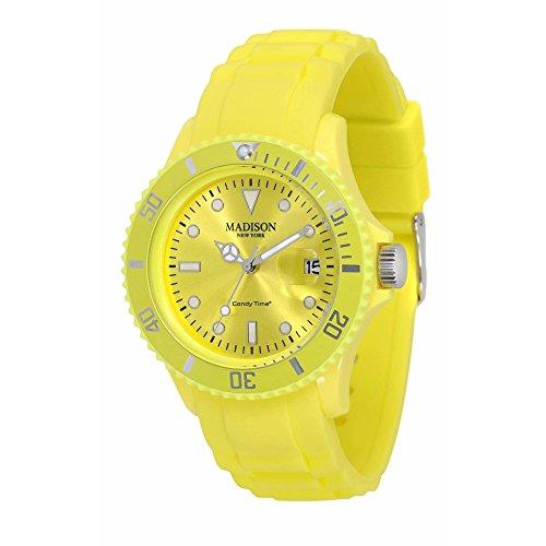 Pastell Gelbe Madison New York Candy Time Unisex Armbanduhr