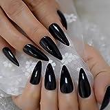 Sharp Pointed Fake Nails Black Gelnails Medium-Long Size Real Stiletto Point...
