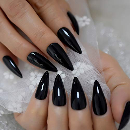 Sharp Pointed Fake Nails Black Gelnails Medium-Long Size Real Stiletto Point Acrylic Nail Tips 24