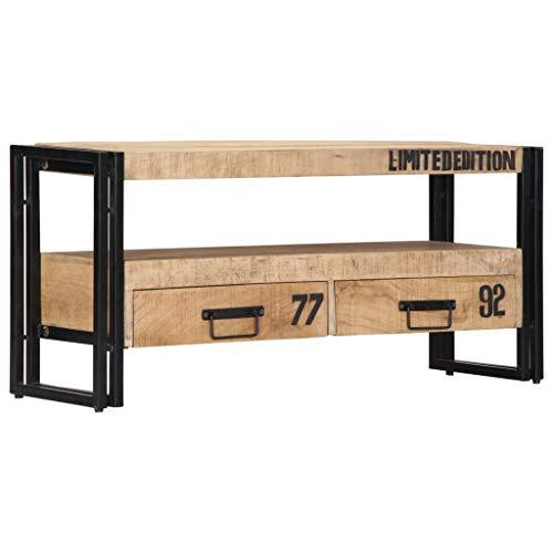 Festnight TV-Schrank | Industrial Fernsehtisch | TV Lowboard Tisch | Vintage Fernsehschrank | Holz TV Board | Massiv Mangoholz mit Eisenrahmen 100 x 30 x 45 cm