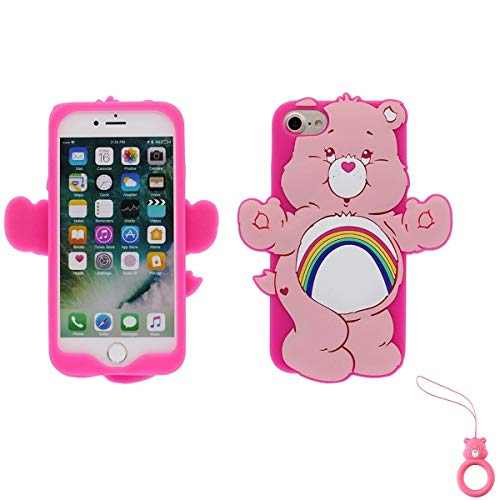 Artbling Case for iPhone Xs Max 6.5,Silicone 3D Cartoon Animal Cover,Kids Girls Teens Cool Cute Cases,Kawaii Soft Gel Rubber Unique Character Protector+Finger Ring for iPhone Xsmax (Rainbow Bear)