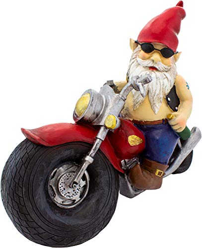 Brubaker Gartenzwerg Motorrad Biker Zwerg - der XXL Kult Zwerg - 32,5 x 27 x 14 cm Idee