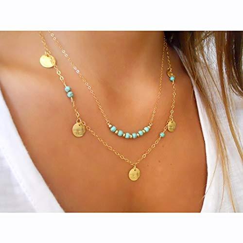 Bohend Boho En capas Collares turquesas Oro bohemio Circulo Collar Collar multicapa Joyería para Las mujeres y las niñas