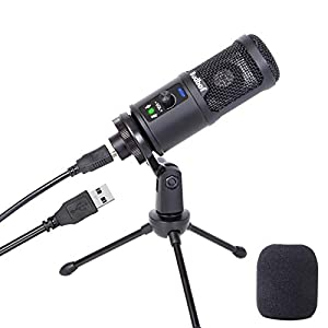 USB Microphone for Computer, Budbof Condenser PC Mic for MAC or Windows Laptop PS4 Gaming YouTube Streaming Vocal Recording with Noise Reduction and Mute Button Plug & Play