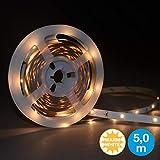 Briloner Leuchten 5 m LED Band mit 150 x LED inklusive Schalter, LED Stripe selbstklebend, für Vitrine, Bett, Schrank, Treppe & Co., LED Streifen 14 W