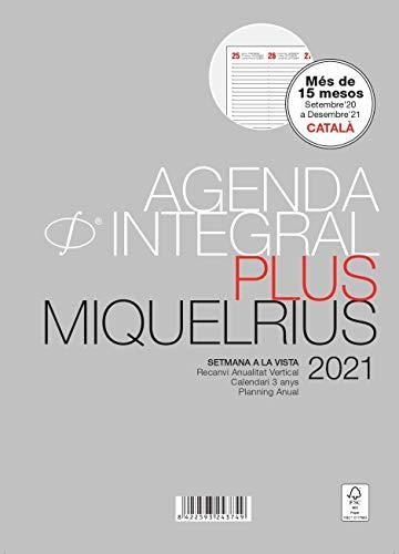 Miquel Rius - Recambio para agenda 2021-6 Anillas, Semana a la Vista Vertical, Idioma Catalán, Tamaño...