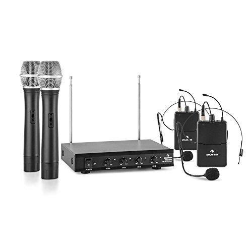 AUNA VHF-4-HS - 4 x Radiomicrofoni Wireless VHF, con Ricevitore, 4 Canali, Copertura 50 metri, 2 Microfoni ad Archetto, 2 Microfoni a Cono, Uscita Jack, Nero